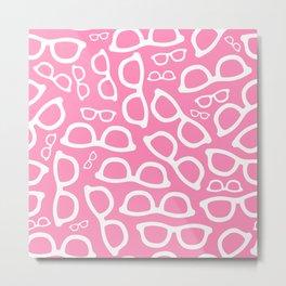 Smart Glasses Pattern - Pink Metal Print
