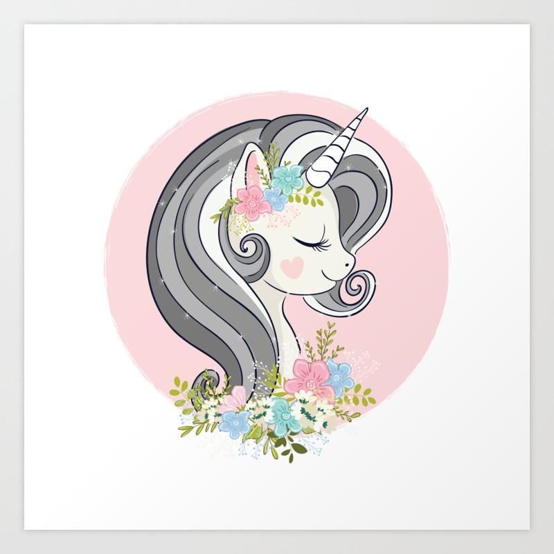 Cute Unicorn Face Art Print By Senaykurtulus Society6