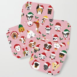 Christmas Dog Pattern Illustration Coaster