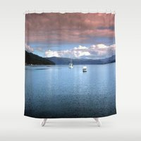 hamlet Shower Curtains featuring Eggs & Bacon Bay by Chris' Landscape Images & Designs