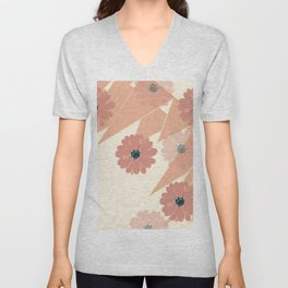 Coral Pink Abstract Geometry  Unisex V-Neck
