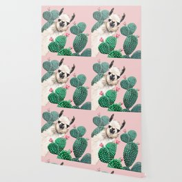Llama and Cactus Pink Wallpaper