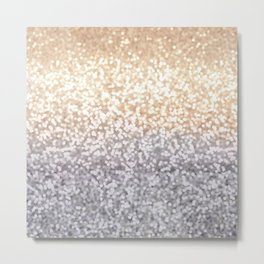 Champagne and Gray Glitter Ombre Metal Print