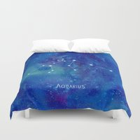 constellation Duvet Covers featuring Constellation Aquarius by ShaMiLa