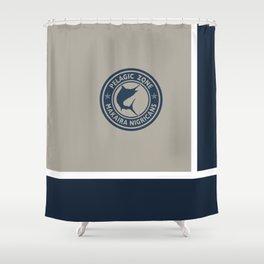 Blue Marlin logo Shower Curtain