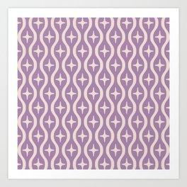 Mid century Modern Bulbous Star Pattern Lavender Art Print