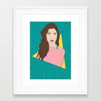 80s Framed Art Prints featuring 80s Gal by Levi Allred