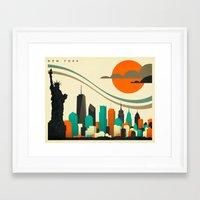 new york skyline Framed Art Prints featuring NEW YORK SKYLINE by Jazzberry Blue