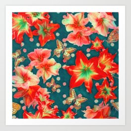Amaryllis and Butterflies 2 Art Print