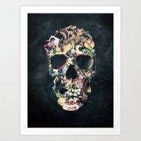 skull Art Prints featuring Vintage Skull by Ali GULEC