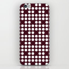 White dots on burgundy red iPhone Skin
