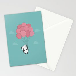 Kawaii Panda In The Sky Stationery Cards