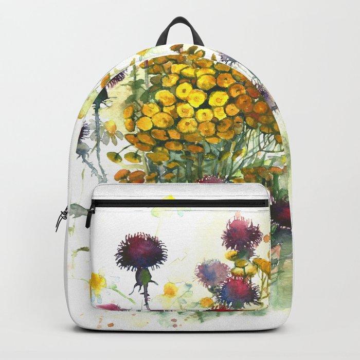 Watercolor wildflowers, aquarelle Backpack