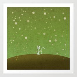 Small winged polka-dotted blue cat and spring Art Print