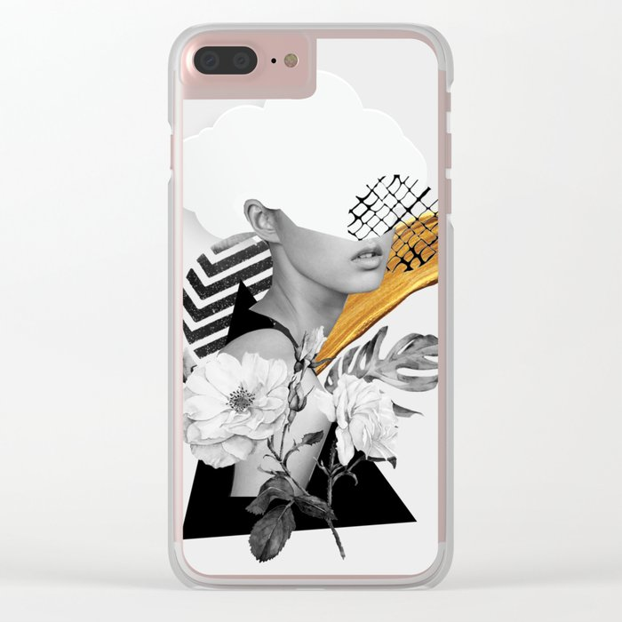 collage art (girl) Clear iPhone Case