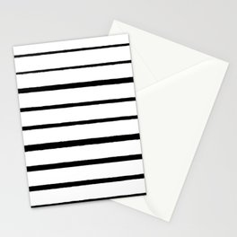 Black and White Rough Organic Stripes Stationery Cards