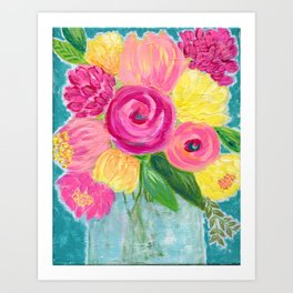 Bouquet of Flowers, Pink and Yellow Flowers, Painting Flowers in Vase Art Print