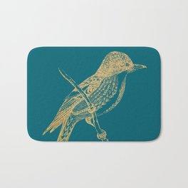 Gold bird branche on quetzal green Bath Mat
