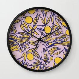 Orange Blossoms on Lavender Wall Clock