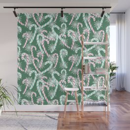 Frosty Canes Green Wall Mural