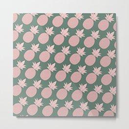 Pineapples Pattern (Green / Pink) Metal Print