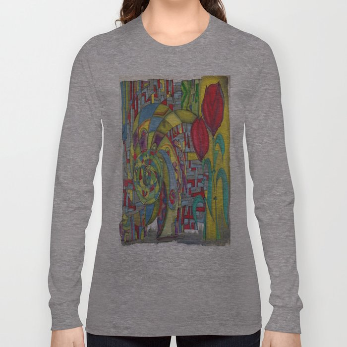 abstract red flower Long Sleeve T-shirt
