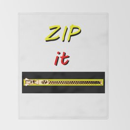 Zip it Black Yellow Red jGibney The MUSEUM Gifts Throw Blanket