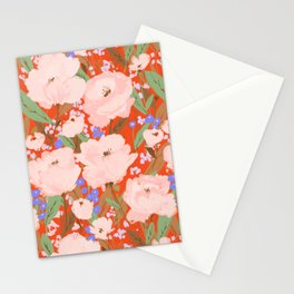 Big pink blooms on red Stationery Cards
