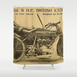 1920 British Excelsior Twin Side Car Motorcycle Advertisement Shower Curtain