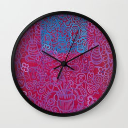 Egyptian Series Blue Maroon by Gert Mathiesen Wall Clock