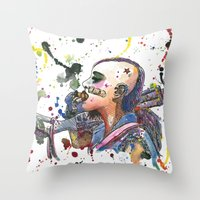 tank girl Throw Pillows featuring Tank Girl by Abominable Ink by Fazooli
