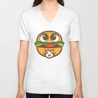 pagan V-neck T-shirts featuring Pagan Burger by Pagan Holladay