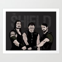 wwe Art Prints featuring WWE - The Shield by Chaotic Color