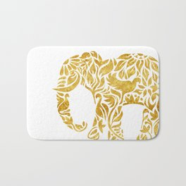 Floral Elephant in Gold Bath Mat