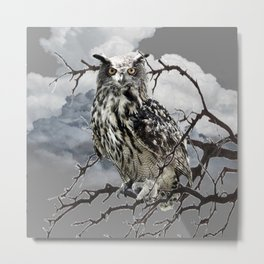 WINTER'S GREY SKIES & WILDLIFE OWL IN TREE Metal Print