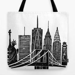 Linocut New York Tote Bag
