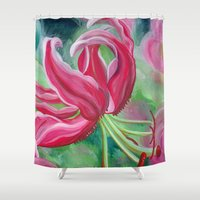 lily Shower Curtains featuring lily by Beth Jorgensen