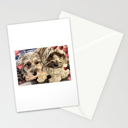 Yorkipoos with hearts dog art Stationery Cards
