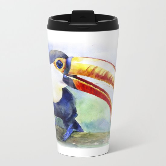 Toucan watercolor illustration, aquarelle art bird Metal Travel Mug