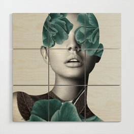 Floral Portrait (woman) Wood Wall Art