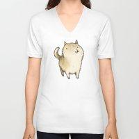 shiba inu V-neck T-shirts featuring Shiba Inu by Sophie Corrigan
