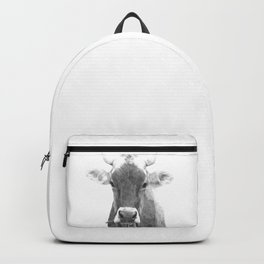 Cow black and white animal portrait Backpack