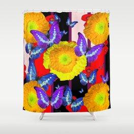 GOLDEN-YELLOW POPPIES  FLOWER BUTTERFLIES RED FLORAL Shower Curtain