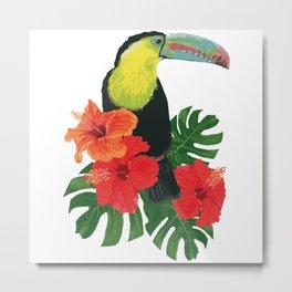 Toucan and hibiscus Metal Print