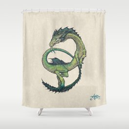 Rain Dragon by Amber Marine ~ Watercolor & Ink dragon/serpent art, (Copyright 2017) Shower Curtain