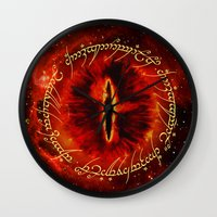 lotr Wall Clocks featuring Sauron The Dark Lord by neutrone