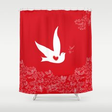 Love and Freedom - Red Shower Curtain