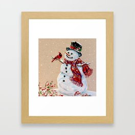 Snowman and cardinal Framed Art Print