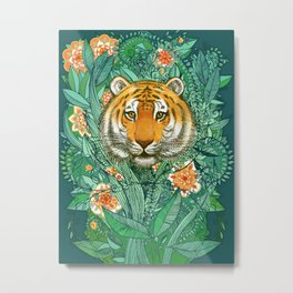 Tiger Tangle in Color Metal Print