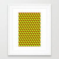 rasta Framed Art Prints featuring Cubed - Rasta by Matt Cutaia